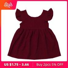 Летнее платье для маленьких девочек; однотонные Детские платья с рукавами-крылышками; Одежда для девочек; платья принцессы с рукавами-крылышками; vestidos robe Fille