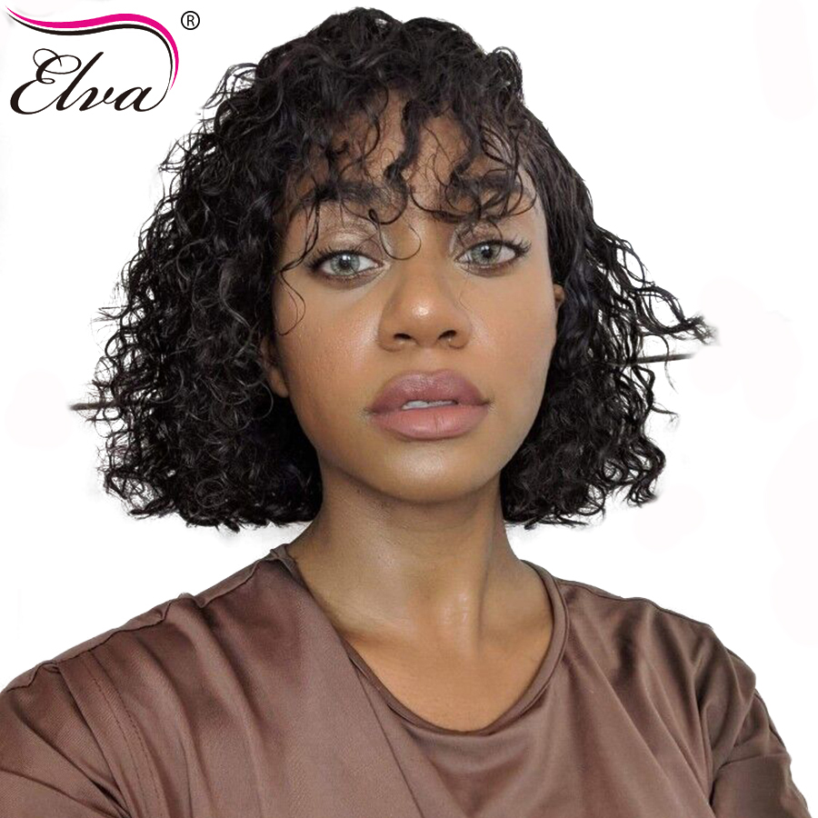 Elva 13*6 Lace Front Human Hair Wigs With Baby Hair Short Bob For Black Women Brazilian Curly Pre Plucked Hairline Remy Hair