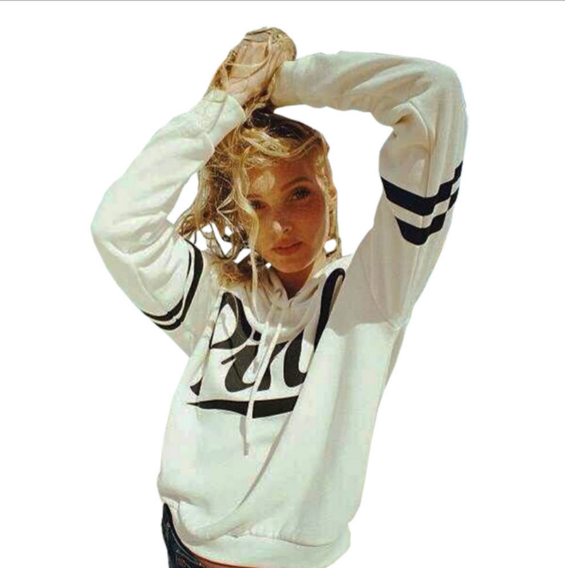 Pink Letter Hoodies Sweatshirts EuropeTops 2020 Women Casual Kawaii Harajuku Kpop Sweat Punk For Girls Clothing Korean
