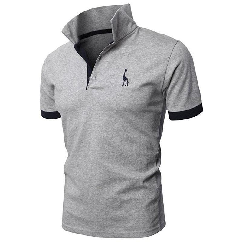 Polo-Shirt Short-Sleeve Embroidery Deer High-Quantity Man Men Casual Brand