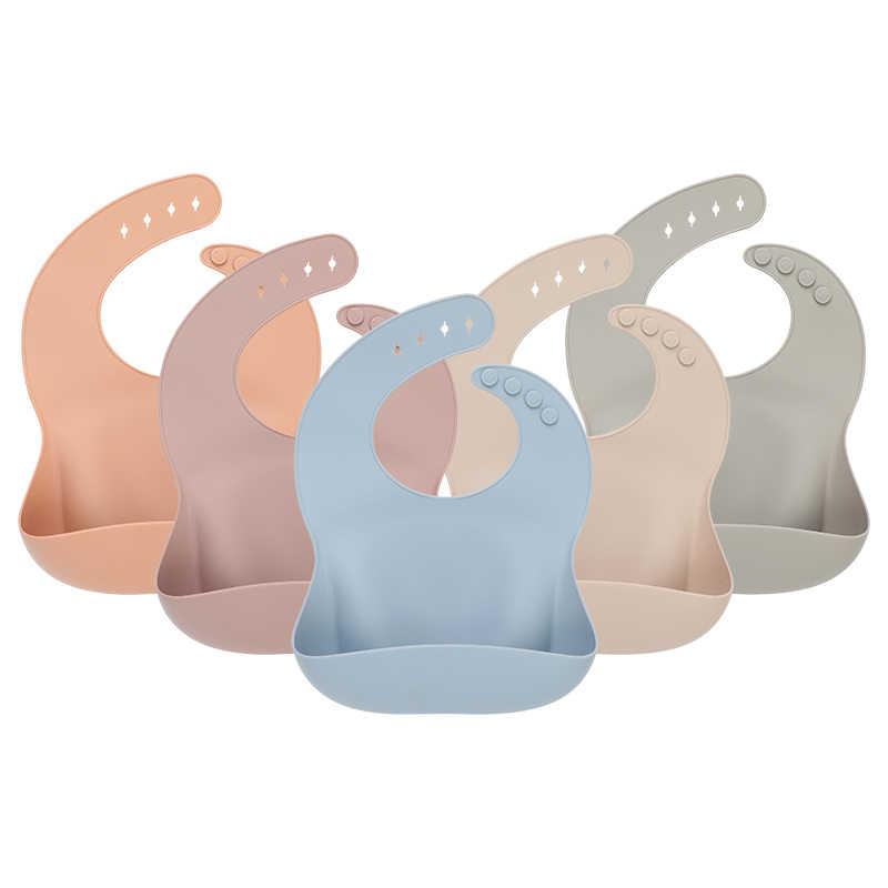 1pc sólido silicone babadores de alimentação do bebê saliva toalha à prova dwaterproof água panos macios bandana leve infantil babadores aventais ajustável