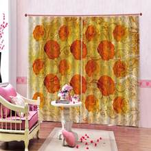 Customized 3D Retro Style Simple Orange Flower Art Design Shower Curtain Digital print Curtain Deco with 12 Hooks(China)