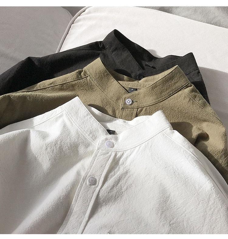 H97fbab8aeac84515a0953ea49f62e06bM Simple Design Solid Colors Long Sleeve Shirts Korean Fashion Mandarin Collar 100% Cotton White Black Shirt Soft and Comfort