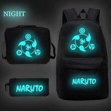 Boys Bookbag Bag Anime Bagpack Naruto luminous Custom Backpack Sac A Dos School Bag Teenager Lunchbag+pen Bag Mochilas Escolar