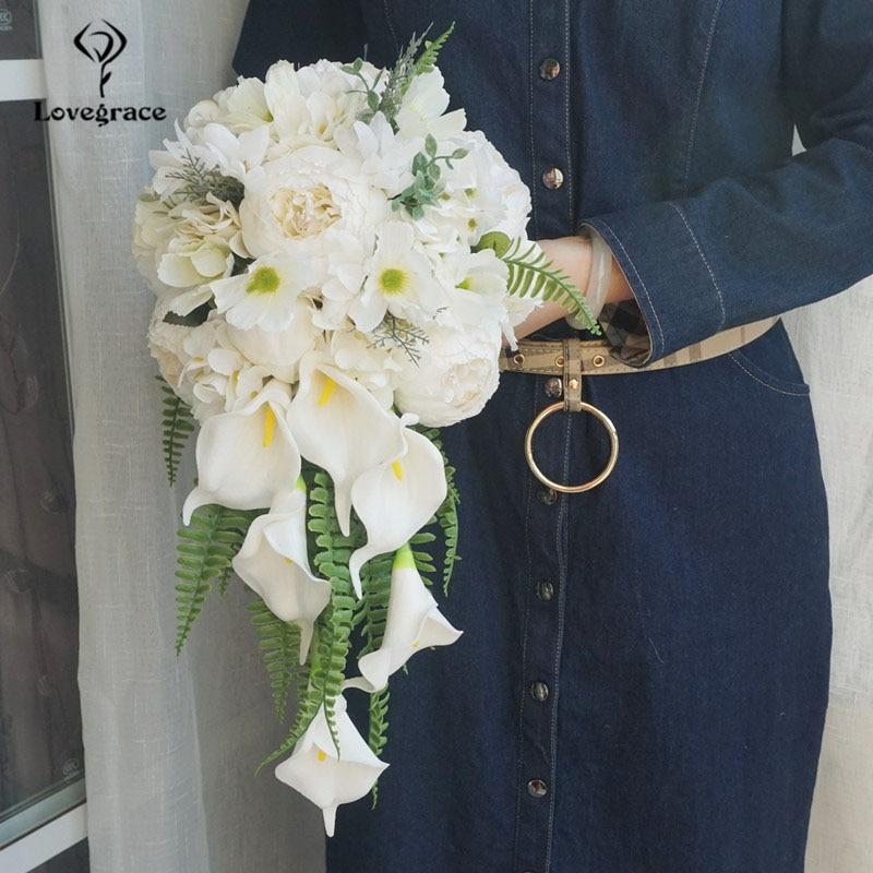Lovegrace Bride Wedding Flower Waterfall Bouquet Fake Peony Hydrangea Flower Calla Lily Sims Azalea White Luxurious Bouquets