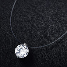 2019 hot sale silver dazzling zircon necklace and invisible transparent fishing line simple pendant chain and necklace for women(China)