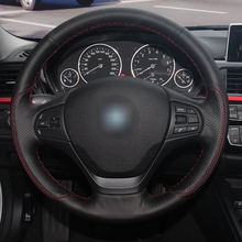 Hand stitched leather and suede car steering wheel cover for BMW F30 F31 F34 F20 F21 F22 F23