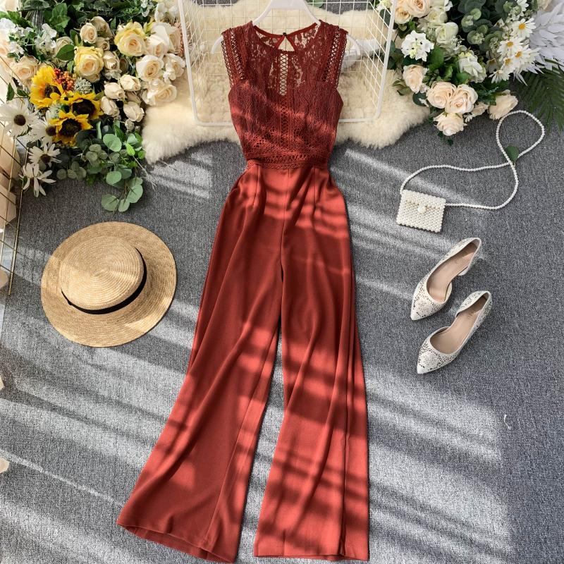 Elegant High Waist Hip Wide Leg Patchwork Lace Hollow Out Sleeveless Jumpsuit 4