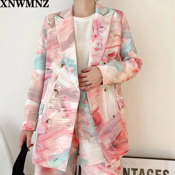 XNWMNZ ZA Women Printed Mixed Color Double Breasted Blazer New Lapel Long Sleeve Loose Jacket Fashion Tide Spring Autumn 2020 spring autumn 2020 women tops green plaid split big size blazer new lapel long sleeve loose fit jacket fashion tide korean