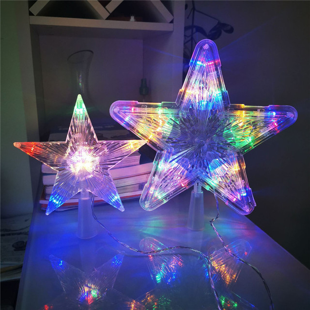 10/30leds Christmas Tree Topper LED Star Night Light Five-pointed Christmas Decoration lamp for Indoor Office New Year Decor