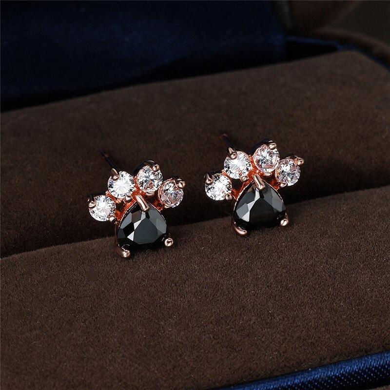 White Blue Opal Cute Cat Paw Heart Stone Stud Earrings For Women Wedding Jewelry Rainbow Crystal Rose Gold Silver Color Earrings