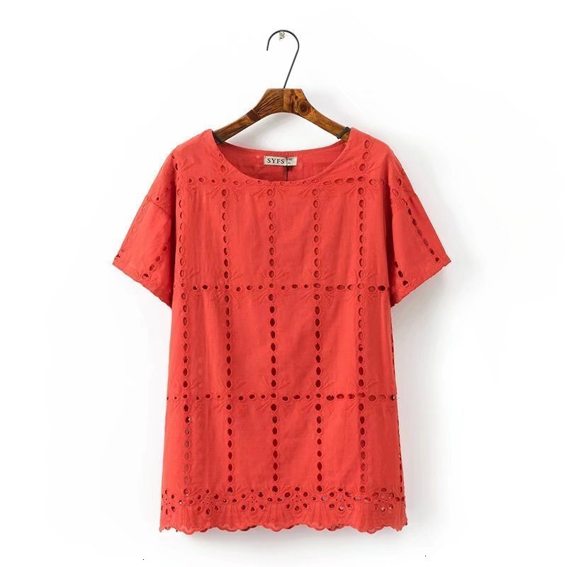 Grande taille rouge et blanc coton été femmes t-shirts évider t-shirt o-cou à manches courtes dames hauts femme