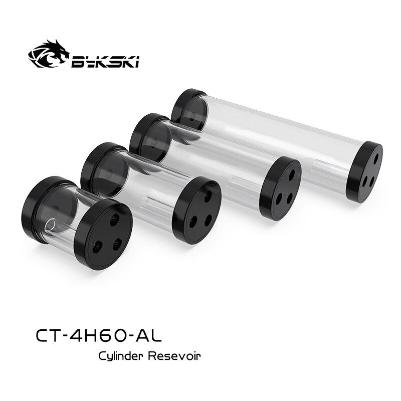 Резервуар для воды Bykski POM 130/180/240 мм, цилиндрический резервуар для водяного охлаждения, 60 мм, диаметр G1/4 дюйма, черный корпус POM, акриловый корп...