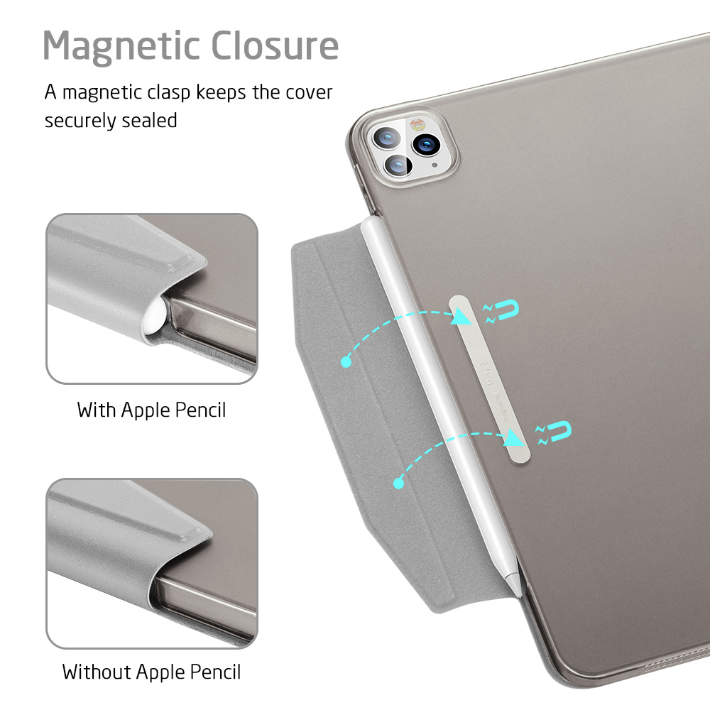 ESR for iPad Air 4 Case for iPad Pro 11 12.9 2021 Case for iPad 8th Gen Case Back Cover with Closure Clasp for iPad Pro 11 2020