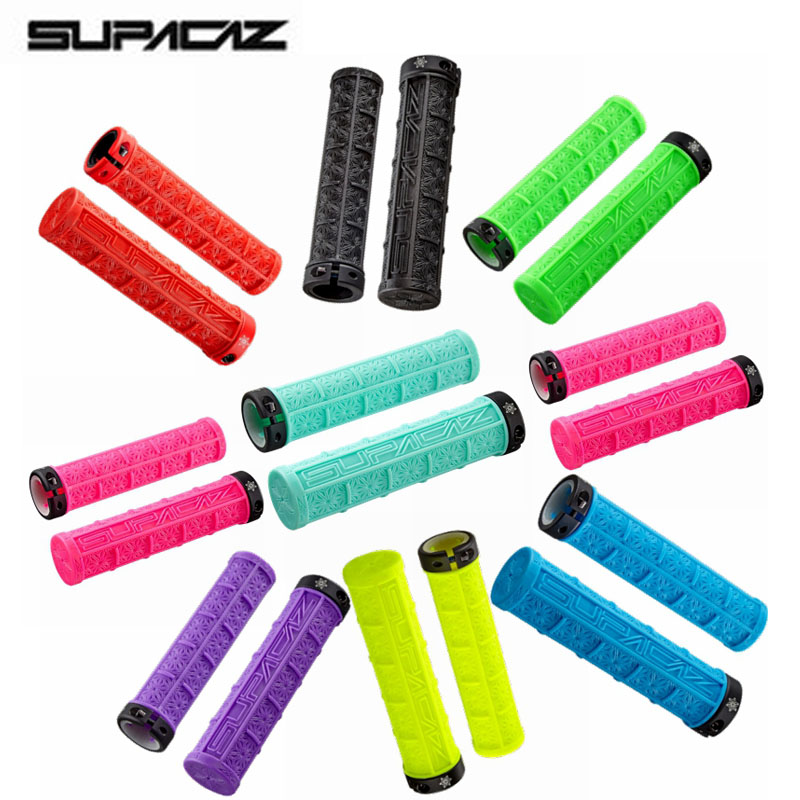 Supacaz MTB Bicycle Handle Set Silicone Set Off-road Single-sided Lock Shock Absorption Anti-skid Hold  9-color Free Shipping