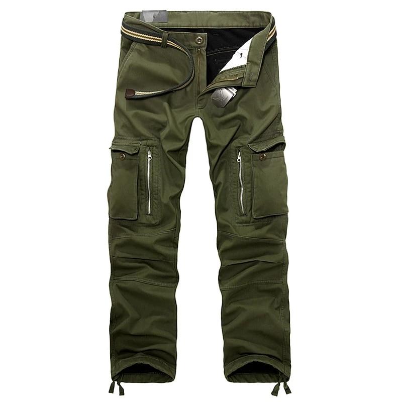 Pantalon polaire tactique chaud pour homme, en coton, à fermeture éclair, ample, vert de l'armée, décontracté, Plus épais, pour outillage, hiver
