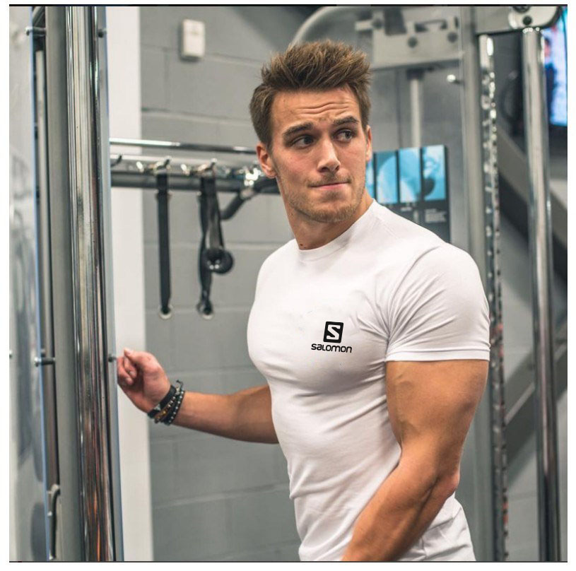 New T-shirt Gym Exercise Short-sleeved Shirt Exercise T-shirt Fitness T-shirt Cotton T-shirt men running 1