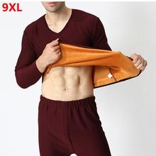 Chemise à même la peau pour hommes, ensemble d'hiver en velours épais et chaud, grande taille