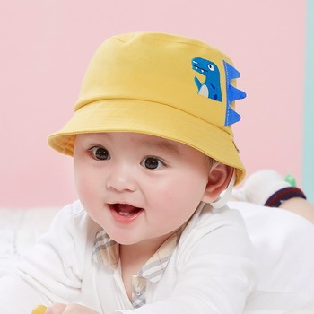 Hot Sale Baby Fisherman Hat Shade Windproof Children Hat Boy and Girl Solid Color Cartoon Little Dinosaur 0-2 Years Old