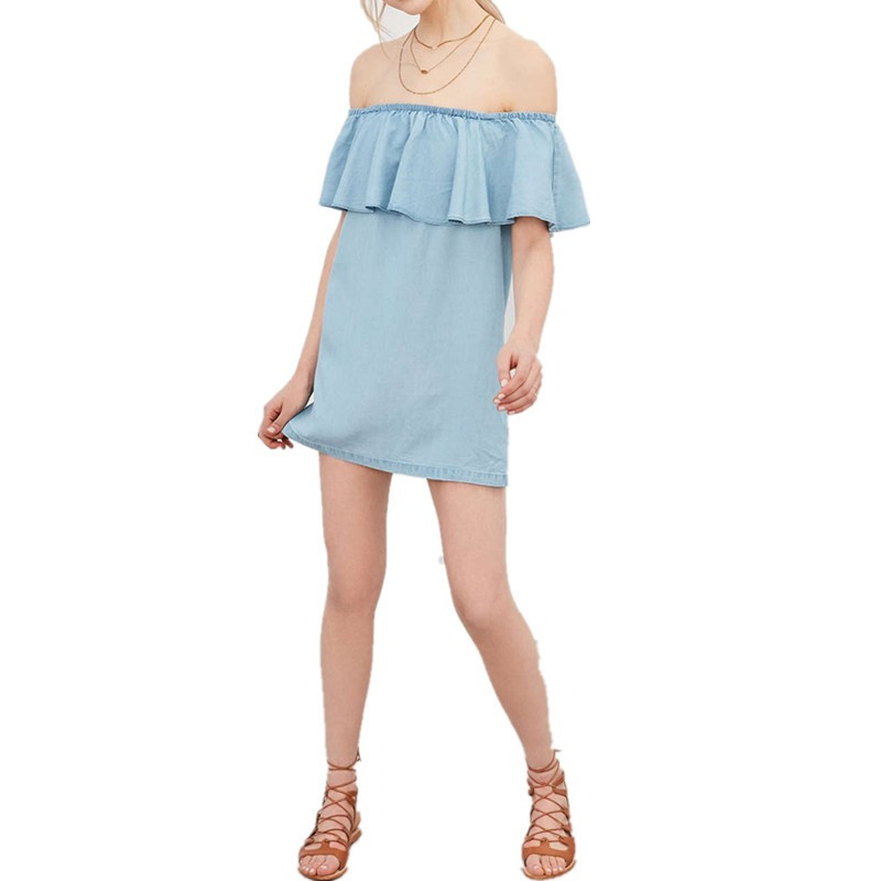 Summer Dress Short Sleeve Blue Party Dress Sling Ruffle Cowboy Straight Dresses Sexy Off Shoulder Dress Women Thin Slim 5274 in Dresses from Women 39 s Clothing