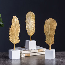 Golden Feather Miniature Figurines Home Decor Living Room Office Desk Decoration Home Decoration Accessories Modern Fairy Garden