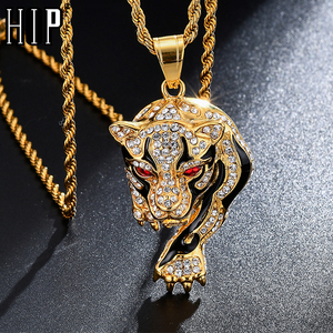 Hip Hop Iced Out Bling Tiger Stainess Steel Gold Color Pendants & Necklaces For Men Women Jewelry With Chains