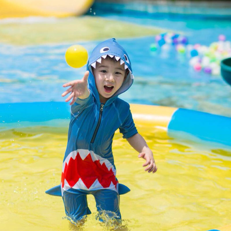 South Korea Sun-resistant One-piece BOY'S Swimsuit Children Small CHILDREN'S Long Sleeve Shark Kids Hot Springs Infants Baby Swi