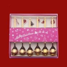 Cuchara conjunto de Navidad, de acero inoxidable conjunto chapado en oro cuchara de café, postre cuchara agitación cuchara pequeña