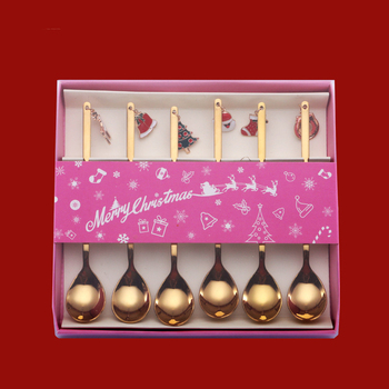 Spoon set Christmas Stainless Steel Set Gold Plated Coffee Spoon Dessert Spoon Stirring Small Spoon
