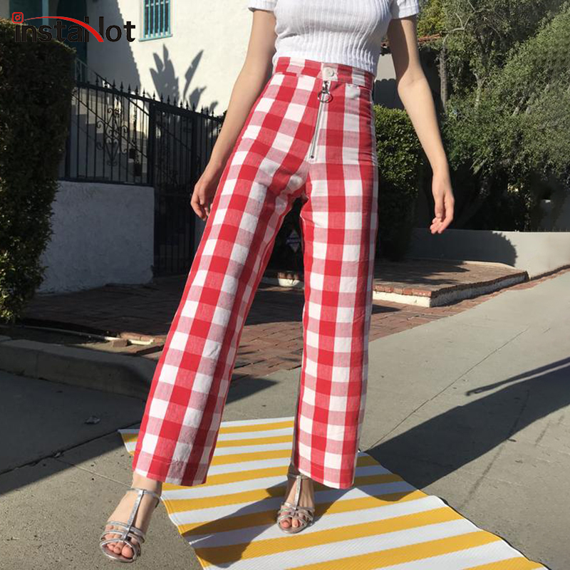 InstaHot Red Blue Plaid Wid Leg Pants Ankle Length Women Loose Pants 2019 Autumn Spring Casual Streetwear Fashion Femme Trousers