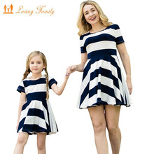 Family Matching Outfits Mother Daughter Dress Children Clothing Fashion Mom And Kids Family Look Stripe Baby Girls Clothes Dress