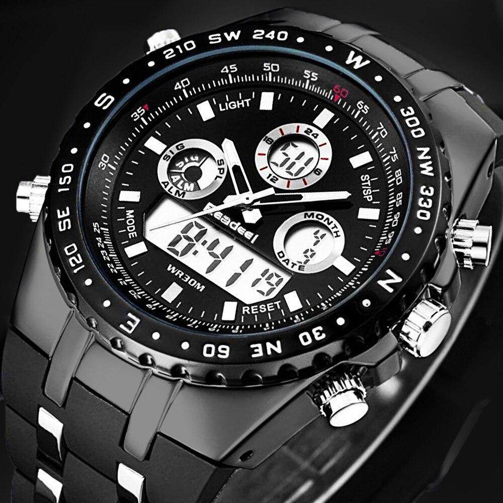 Readeel Men Watches Top Brand Luxury Digital Led Waterproof Quartz Watch Men Chronograph Male Sport Military Watch