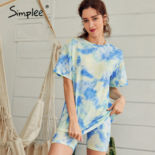 Simplee Casual outfits women's two piece suits Tie dye printing backsuits T-shirt suit Sports style bicycles shorts set 2020 NEW