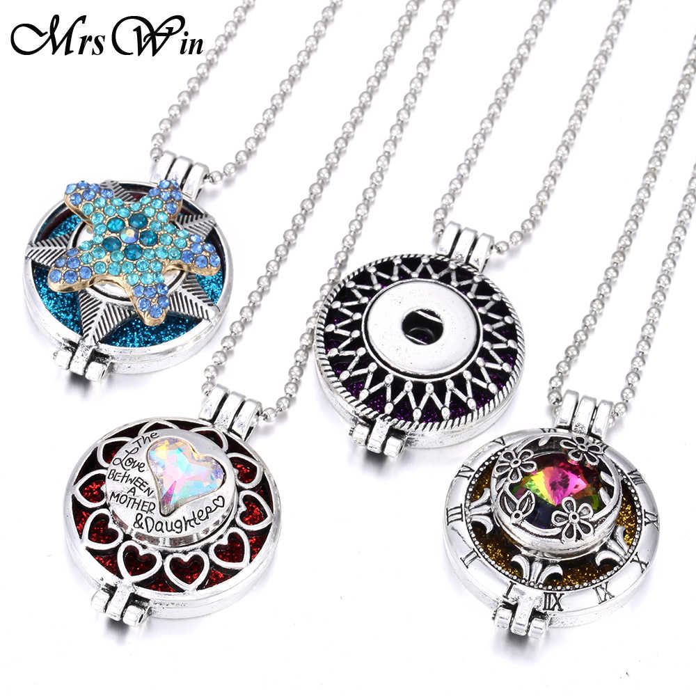 2019 New Snap Jewelry Necklaces Aroma Perfume Aromatherapy Diffuser Locket Pendant Necklace Fit 20mm 18mm Snap Button Jewelry