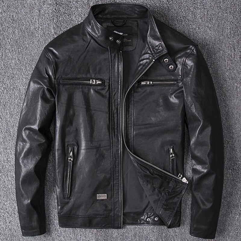 Vintage Genuine Leather Jacket Men Spring Autumn Real Sheepskin Coat Mens Motorcycle Jacket Chaqueta Cuero Hombre YY454