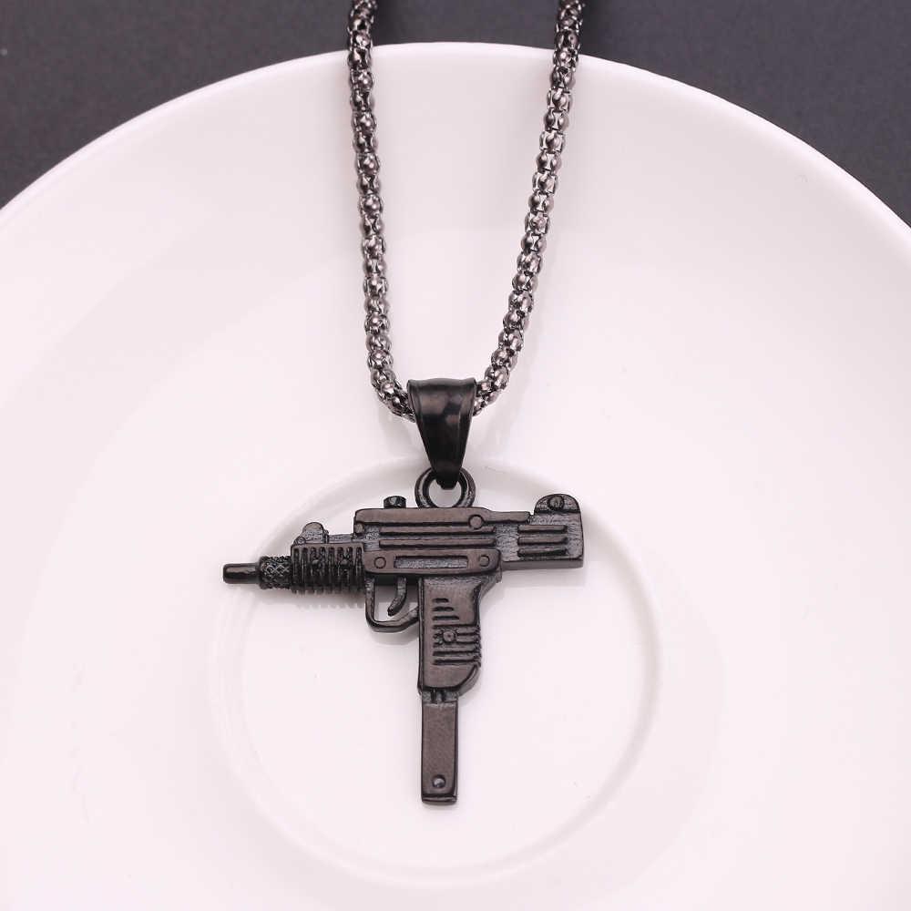 クールゴシックヒップホップウジ Kolye 銃の形のペンダントネックレスシルバー/ゴールド/黒色軍スタイルの男性チェーン男性ネックレスジュエリー