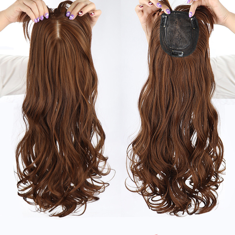 LANLAN Brown Synthetic Hairpieces with Bangs 3 Clip in Hair Pieces Wavy/Straight  Hair for Women Thinning Hair Heat Resistant.