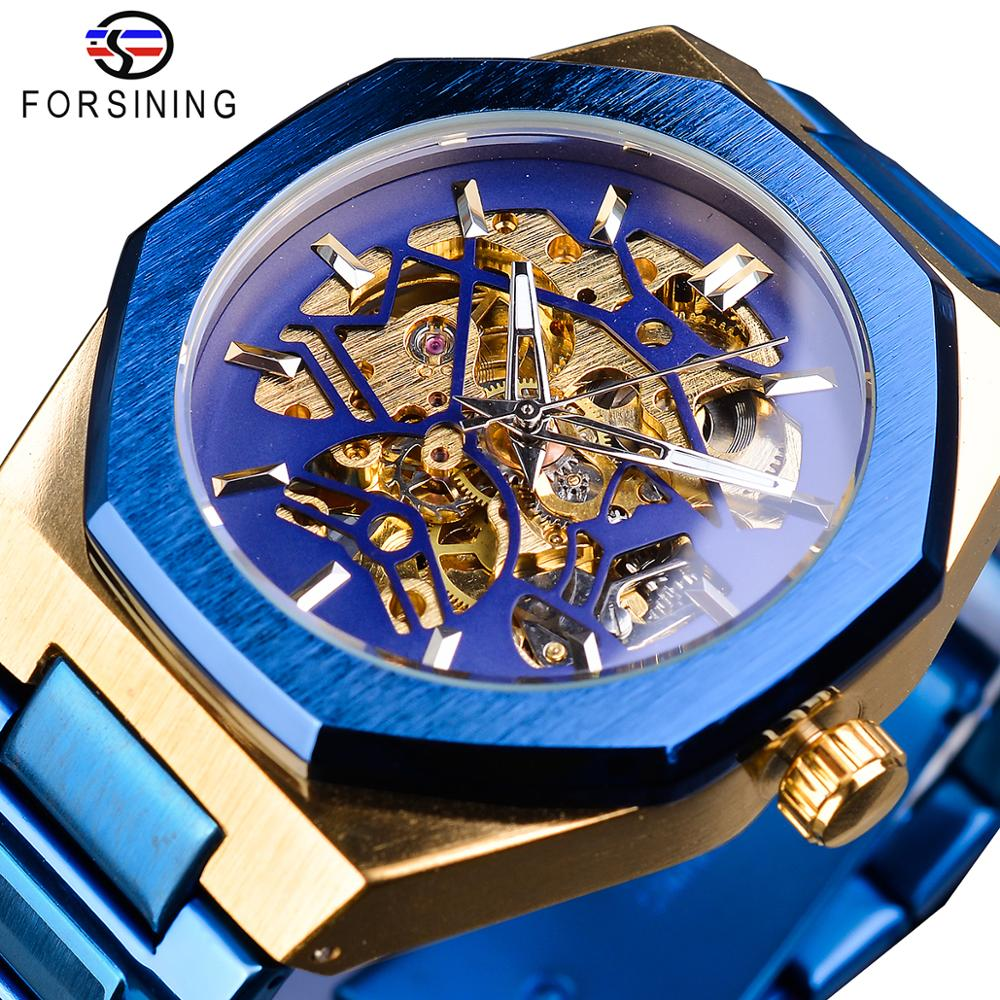 Forsining Mechanical Mens Watches Fashion Automatic Male Clock Blue Stainless Steel Waterproof Business Skeleton Erkek Kol Saati