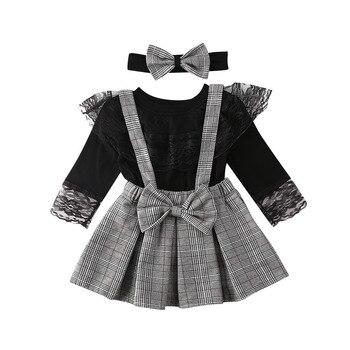 1-6y da criança do miúdo da menina roupas de bebê conjunto preto manga longa rendas t camisa topos + xadrez babados saias macacão trajes da menina primavera