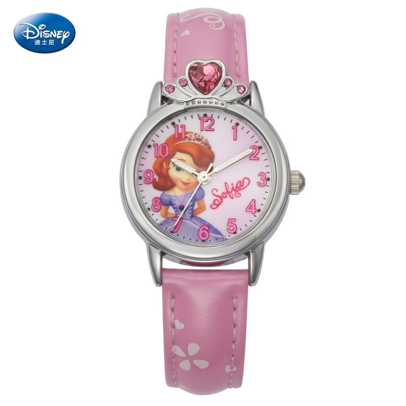 Disney Pricess Quartz Girl Wristwatch Princess Sophie Calendar 3Bar Waterproof Simple Fashion Round Leather Strap Children Watch