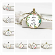 European and American religious ornaments Crystal glass scriptures Bible pendant fine alloy necklace