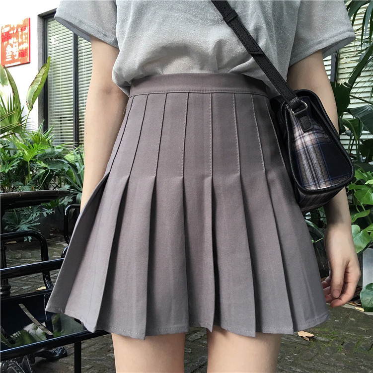 2019 New Style Korean-style High-waisted Pleated Skirt Women's Solid Color Slim Fit Slimming Versatile Fashion CHIC Students' Sk