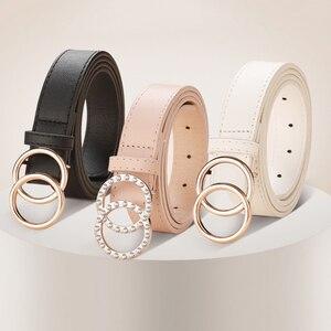 Black leather belt woman waist rhinestone belts for women luxury brand cinturon mujer G belt strass inlaid korean ceinture 2020