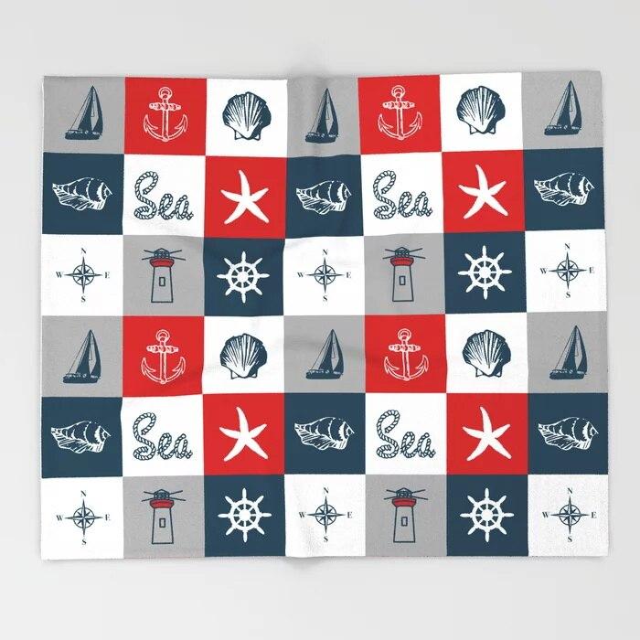 Sofa Cute Kids Design Nautical Blankets