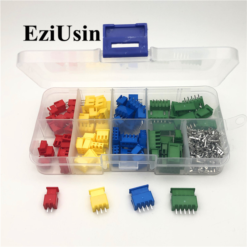 40/60sets XH2.54 2/3/4/5p 2.5mm Red Blue Yellow Terminal Kit/Housing/Pin Header JST Connector Wire Adaptor Kits TJC3 2.54mm Xhp