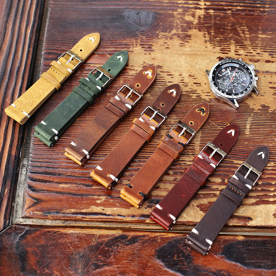 Cow Leather Watch Strap Band 18mm 20mm 22mm 24mm Retro Handmade Wristband High Quality Watchband Watch Stitching Strap Belts
