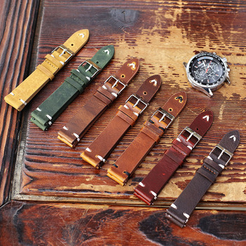 Cow Leather Watch Strap 18mm 20mm 22mm 24mm Retro Wristband High Quality Watchband Handmade Stitching Strap Replacement Belts