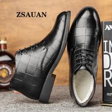 Formal-Boots Business-Dress Office PU ZSAUAN Men Heatpeservation Warm Fur Zsauan-Spring/winter