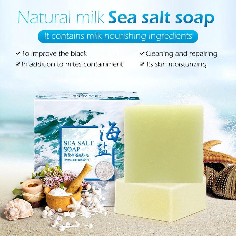 100g Sea Salt Goat Skincare Soap Bar Remove Mites Cleaner Removal Pimple Pores Acne Treatment Goat Milk Moisturizing Face TSLM1