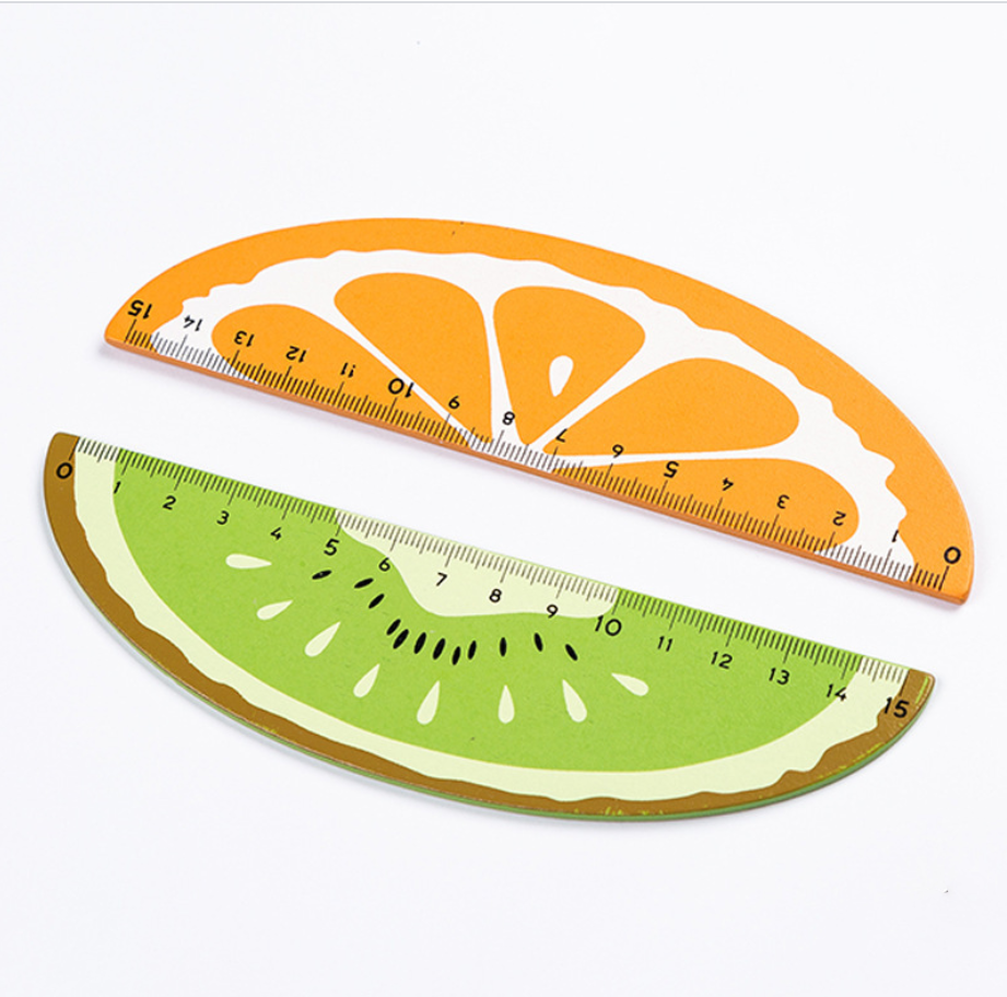 4pcs15cm Cute Fruit Wooden Ruler Stationary Accessory School Supplies Measuring Straight Rulers Lineal Tool Gift Student Drawing
